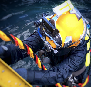 Diver in KM37 Exiting After Inspection